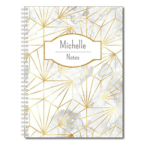 Golden Girl Personalized Modern Marble Spiral Notebook/Journal, 120 College Ruled or Checklist Pages, durable laminated cover, and wire-o spiral. 8.5x11 | 5.5x8.5 | Made in the USA