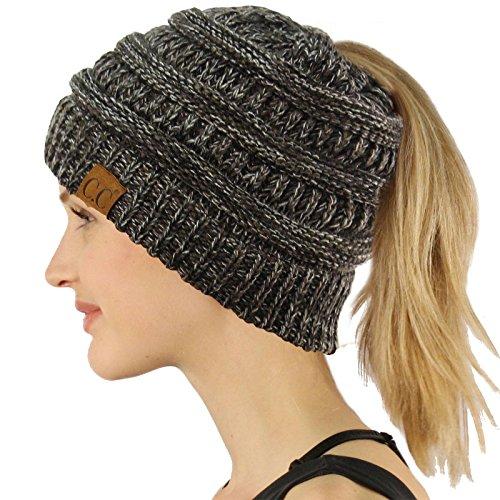 - Ponytail Messy Bun BeanieTail Soft Winter Knit Stretchy Beanie Hat Cap Quad Gray