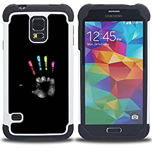 For Samsung Galaxy S5 I9600 G9009 G9008V - black palm hero colors paint deep Dual Layer caso de Shell HUELGA Impacto pata de cabra con im????genes gr????ficas Steam - Funny Shop -