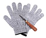 Oyster Shucking Set - Premium Oysters/Clams Shucking Knife Shucker with Rose Wood Handle,Full Tang Blade and a Pair Of Cut Resistance Gloves (EN 388, Level 5)