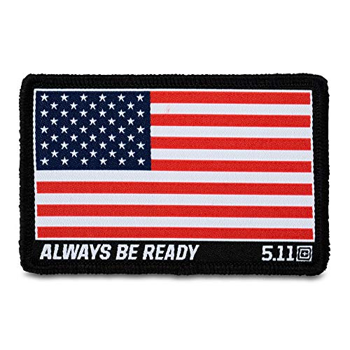 5.11 Tactical USA Flag Woven Patch, Hook-Back Adhesion, Morale Fabric Badge, Red, 81292 ()