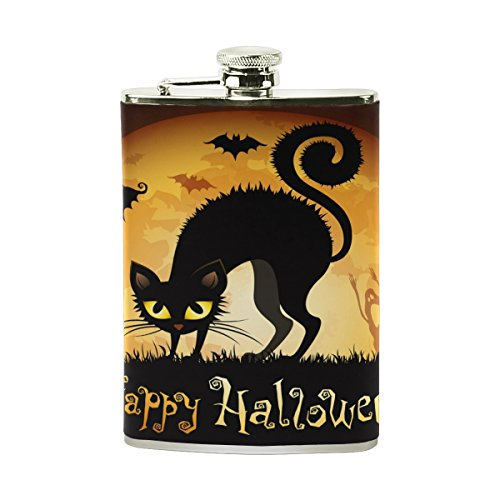 LORVIES Halloween Moon Scared Cat Drinking Flask with PU Leather Wrapped, Stainless Steel Leak Proof Liquor Hip Flask, 8 oz ()