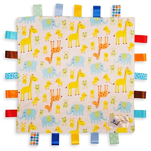 White Baby Comforter Blanket - Giraffe, Elephant and Chick Animals Security Blanket with Plain Yellow Textured Underside For the Love of Leisure