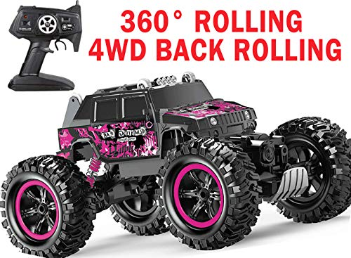 Rc Trucks 4WD RC Car Off Road Remote Control Car 1:14 Climbing Car 2.4Ghz 4WD Monster Truck Remote Control Truck Automatic Tipping Function Four-Wheel Drive Cool Searchlight With Waterproof Function ()