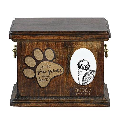 Perro de agua portugués, urna de cenizas de perro con placa de cerámica y descripción