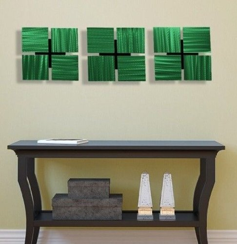 Sophisticated Green Modern 3D Etched Metal Wall Art Accent -