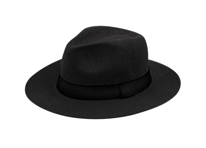 9789a921a Wide Brim Paper Straw Fedora, Classic C Crown Panama Sun Hat (1 Size Fits  Most)