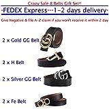 "G-Style Silver Buckle Unisex Mens Womens Fashion Belt ~ 3.8cm Belt Width (120cm (Waist 36""~42""), Black)"