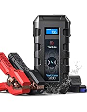Jump Starter Car Battery Pack Portable, TOPDON VOLCANO2000 12V Auto Lithium Battery Booster Jumper (Up to 10L Gas, 8L Diesel) 20800mAh Power Bank Wireless Charger for Car Truck ATV SUV Boat-Peak 2000A