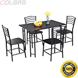 COLIBROX--5 PCS Black Dining Set Table 4 Chairs Steel Frame Home Kitchen Furniture. dining room sets cheap. 5 piece dining set counter height. 5 piece dining set amazon. dining table set with bench.