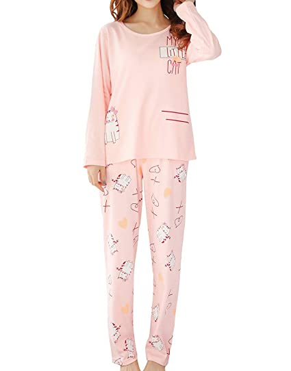 dd675befde29 Image Unavailable. Image not available for. Color  MyFav Big Girls  Cute Cats  Pajamas Long Sleeve Casual Sleepwear Loungewear Set