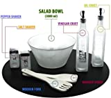 7 Pcs Frosted Glass Salad Bowl Servers / Preparation Set with Salt & Pepper Shakers