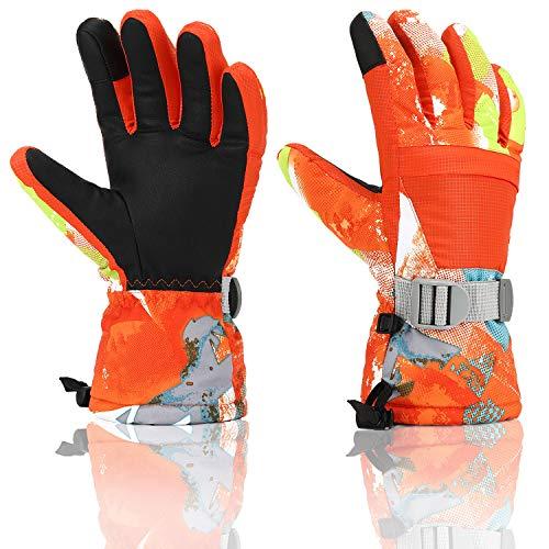 Ski Gloves, Yidomto Waterproof Warmest Winter Snow Gloves for Mens, Womens, Boys, Girls, Kids (Orange-XS)