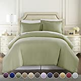 HC COLLECTION 3pc 1500 Thread Count Full/Queen Duvet Cover Set, Sage Deal (Small Image)
