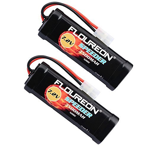 (floureon 7.2V 3500mAh NiMH 6 Cell Rechargeable RC Battery Pack with Tamiya Plug for Popular Standard RC Cars Including Traxxas LOSI mAssociated HPI Tamiya Kyosho (2pack))