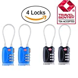 Rewido 4pcs TSA Lock - luggage combination lock,Zinc Alloy 3 Digit Travel Lock