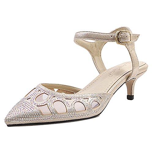 Sandalias 85 Puntiagudo Gold Mujer Coolcept Tacones Elegante Con 0wnIx