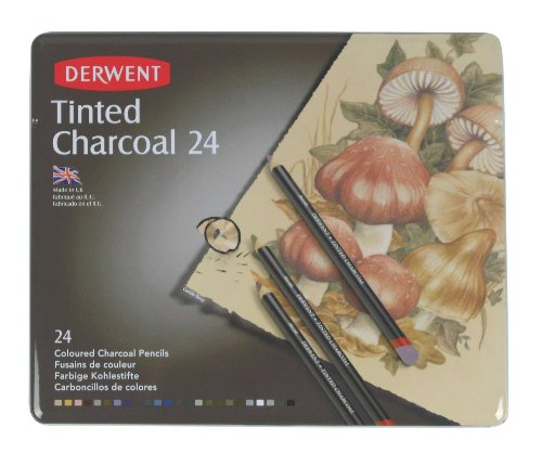 Derwent Tinted Charcoal Pencils, 4mm Core, Metal Tin, 24 Count (2301691) Photo #4