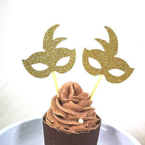 Masquerade Mask Cupcake Picks (Set of 24 Gold Glitter Mask Cupcake Toppers Baby Shower Kid's Birthday Party)