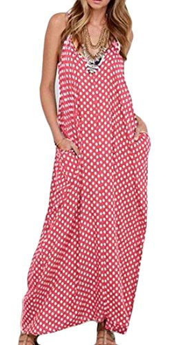Sexy Womens Neck Spaghetti Dress Cromoncent Pink Strap V Loose Summer Swing Long Printed Dots UxSgxq5w