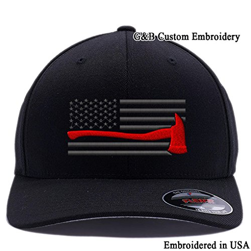 (Thin Red Line Axe USA Flag. Embroidered. 6477 Flexfit Wool Blend Cap (L/XL, Black-1))