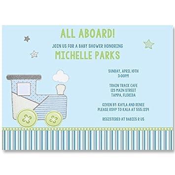 Amazon train baby shower invitations sprinkle birthdday train baby shower invitations sprinkle birthdday aqua blue gray filmwisefo