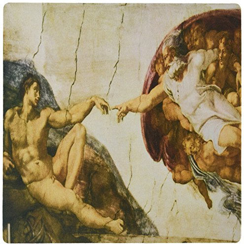 3dRose 8 x 8 x 0.25 Inches Mouse Pad, Creation of Adam by Michelangelo Buonarroti (mp_127088_1) - Michelangelo Buonarroti Creation Of Adam