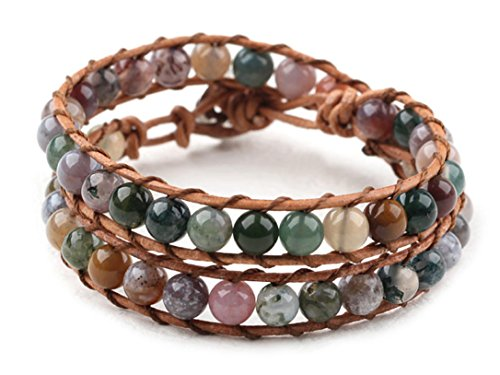 hot-mix-color-indian-agate-wrap-bracelet-genuine-brown-leather-hand-knotted-multilayer-6mm-beads