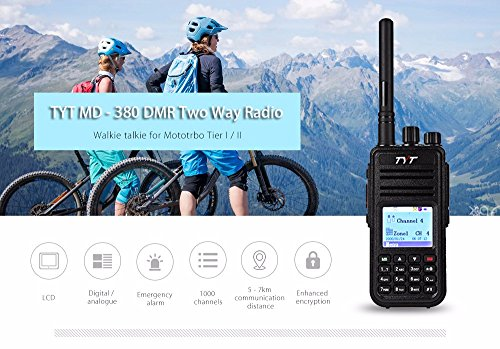 Joyhero TYT Tytera MD-380 DMR Digital Radio,400-480UHF, Up to 1000 Channels, with Color LCD Display, Programming Cable and 2 Antenna (High Gain Antenna in cluded), Black ¡ by TYT (Image #2)
