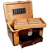 The Gothic - Cigar Humidor - High Gloss Piano Finish, Birdseye Maple Burl Top And Inlay (15'' X 9 3/4'' X 11 1/8)
