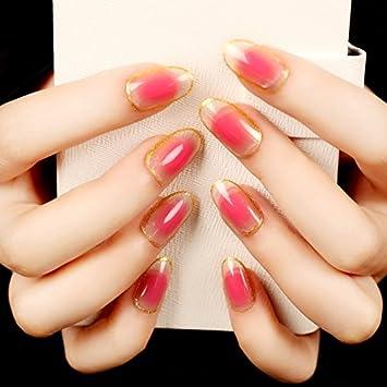 Echiq Transparent Peach Pink Blush Oval False Nail Tipps Gold