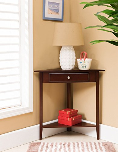 - Kings Brand Walnut Finish Wood Corner Sofa Accent Table with Drawer