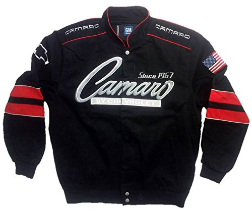 J.H. Design JH Design Chevy Camaro Cotton Twill Jacket, XXX-Large, Black by J.H. Design