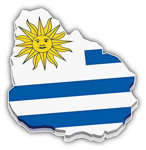 Uruguay 3d Map World Flag Art Decor Bumper Sticker 5'' x 5''