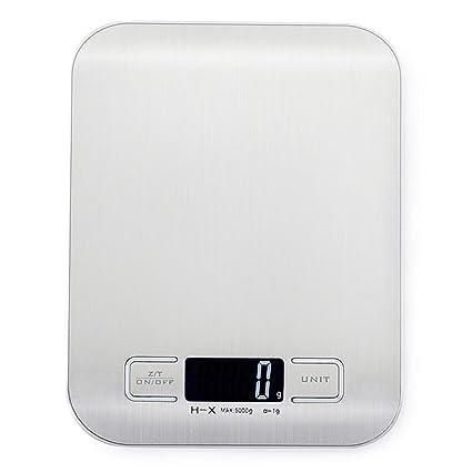 HALOViE Báscula Digital para Cocina Acero Inoxidable Balanza eléctrica Digital pantalla LCD Color Plata 5kg/