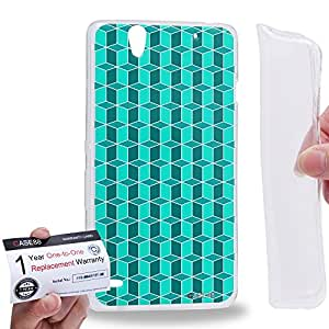 Case88 [Sony Xperia C4 / C4 Dual] Gel TPU Carcasa/Funda & Tarjeta de garantía - Art Fashion Cyan Geometric 3D Blocks