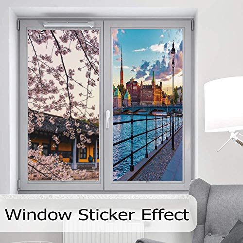 (YOLIYANA Control Heat and Anti UV Window Cling,Cityscape,Reduce Heat, Glare and Block Out Harmful UV Rays,Scandinavian Stockholm Old Town Sweden by Lake Gamla,24''x48'' )
