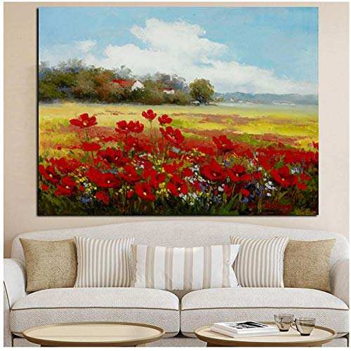 dayanzai Print Abstract Wild Red Flower Poppies Landscape Oil Painting On Canvas Modern Pastoral Poster Art Wall Picture for Living Room 50X70Cm No Frame (Poppies Landscape)