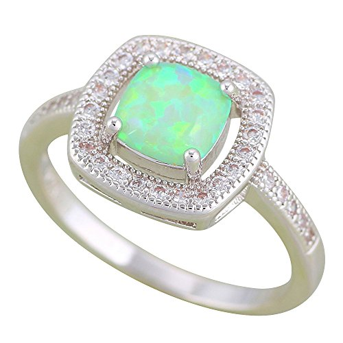 Green Fire Opal Silver Ring 925 Stamped Party Accessories Rings USA OR899 (8) - Mosaic Opal Ring