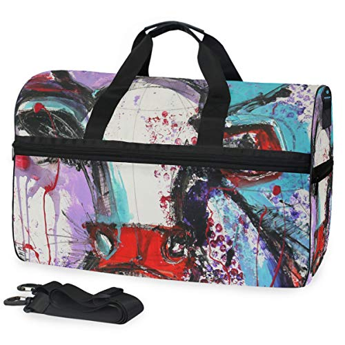 Armour Under Cabelas - Gym Bag Abstract Cute Cow Sport Travel Duffel Bag with Shoes Compartment Large Capacity for Men/Women
