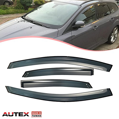 (AUTEX Tape On Window Visor Fits for 2008 2009 2010 2011 Ford Focus Side Window Deflectors Rain Guard Made in Taiwan)