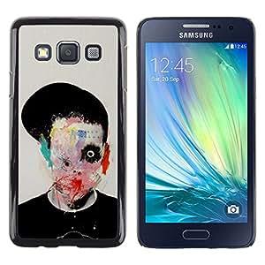 MobileHut / Samsung Galaxy A3 SM-A300 / Abstract Horror Bow Meaning Art Deep / Delgado Negro Plástico caso cubierta Shell Armor Funda Case Cover