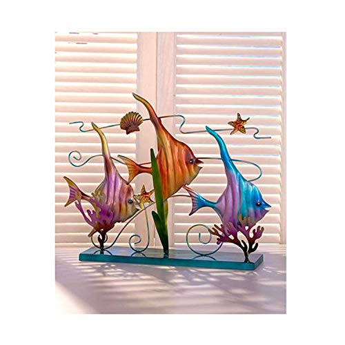 - The Lakeside Collection Metal Sealife Sculpture-Tropical Fish