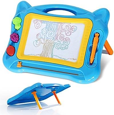 SGILE Pizarra Magnética Colorido de Graffiti Tableros de Dibujo Magnéticos para Niños con Soporte, Azul