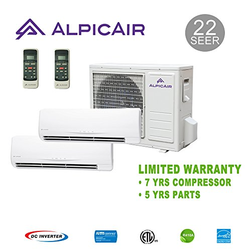 AlpicAir +Multi Dual-Zone Ductless Mini-Split System 18,000 BTU Inverter Heat Pump (12k+12k)
