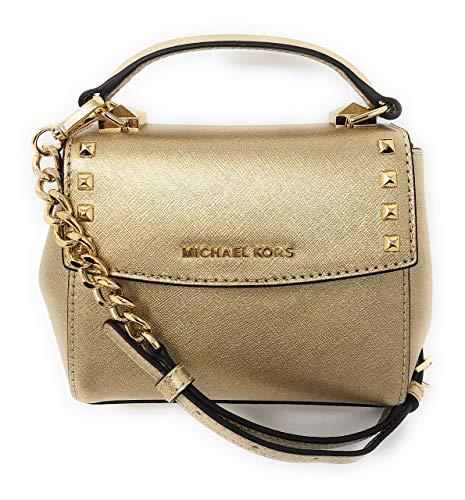 Michael Kors Karla Mini Convertible Saffiano Leather Crossbody Handbag in Pale Gold