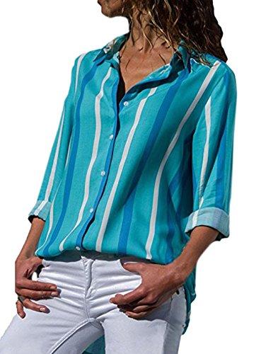 Monika Primavera e Autunno Donna Tops Moda V Collo Maglie a Manica Lunga Shirts Bluse Camicie Casual Stampa Camicetta Blouse Tee Blu
