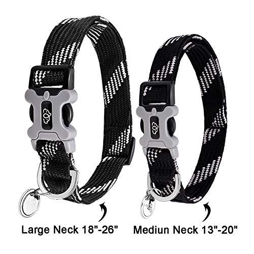 Eorefo Dog Collar Reflective Personalized Dog Collars for Medium Large Dogs.(Black Neck 13-20)