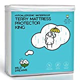 Milddreams Waterproof Mattress Protector King Cotton Terry Cover - Size 78x80+18 inch Deep - Plactic Bed Cover - Waterproof Fitted Sheet