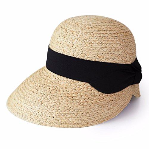 2018 new spring and summer sun UV protection sun hat Raffia straw hat,Black ()
